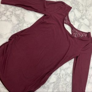 Burgundy Shirt with Lace Back